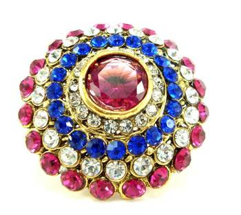 Bridal pink blue kundan adjustablr finger ring fr01