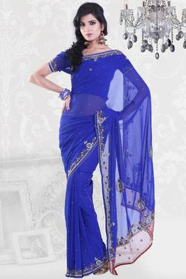 Persian Blue Faux Georgette Embroidered Party and Festival Saree
