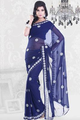 Sapphire Blue Faux Georgette Embroidered Party and Festival Saree