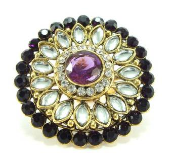 Purple kundan cz adjustable finger ring fr02