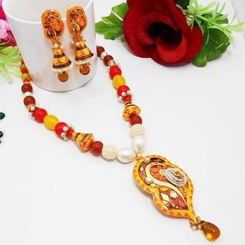 Meenakari Neon Designer Curvy Leaf Necklace Orange Yellow