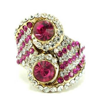 Party wear pink kundan adjustable finger ring fr07
