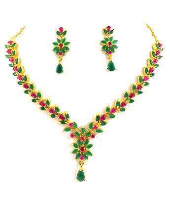 Designer Ruby Emerald Necklace Set