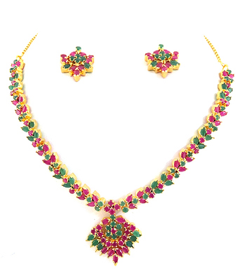Beautiful Emerald Ruby Necklace Set