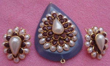 Pachi work on blue color stone with earrings
