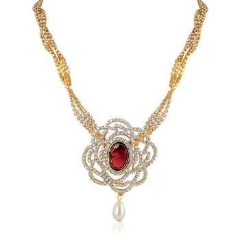 Oviya   Gold Plated Empress Beauty Pendant set with Crysral Stones