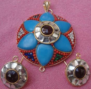 Blue Red Takkar work pendent with earrings