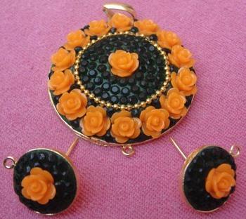Black yellow takkar work pendent with earrings