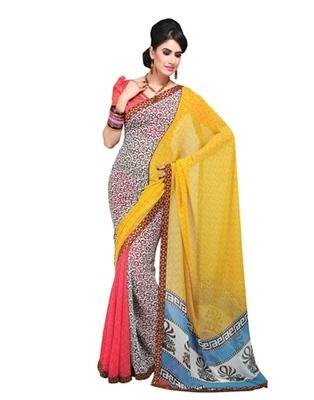 Triveni Beautiful Vine Motif Tricolor Georgette Indian Designer Saree TSVF9801