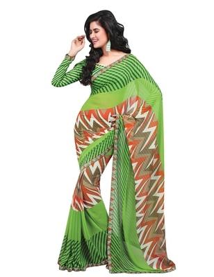 Triveni Classy Zigzag Patterned Faux Georgette Indian Designer Saree TSVF9802