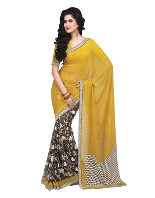 Triveni Vine & Floral Printed Faux Georgette Indian Designer Saree TSVF9813