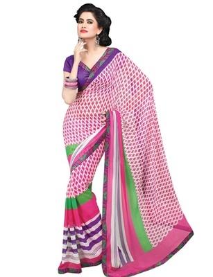 Triveni Chic Leaf Motif Sleek Bordered Georgette Indian Designer Saree TSVF9814