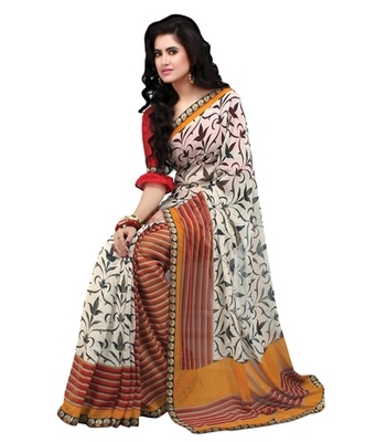 Triveni Stylish Vine & Lining Patterned Printed Indian Designer Saree TSVF9816