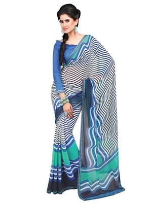Triveni Fanciful Waves Patterned Faux Georgette Indian Designer Saree TSVF9818
