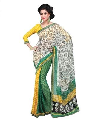 Triveni Amiable Tricolor Sleek Border Georgette Indian Designer Saree TSVF9819
