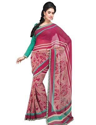 Triveni Smart Geometrical Patterned Georgette Indian Designer Saree TSVF9823