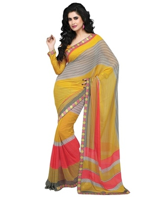 Triveni Charming Multi Colored Sleek Bordered Indian Designer Saree TSVF9826