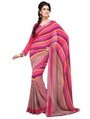 Triveni Colorful  Geometrical Pattern Georgette Indian Designer Saree TSVF9827