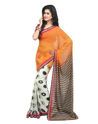 Triveni Pretty Polka Dots Printed Faux Georgette Indian Designer Saree TSVF9828