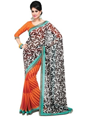 Triveni Graceful Vine & Paisely Motif Georgette Indian Designer Saree TSVF9831