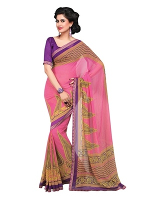 Triveni Elegant Traditional Printed Georgette Indian Designer Saree TSVF9832