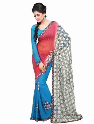 Triveni Chic Floral Printed Faux Georgette Indian Latest Designed Saree TSVF9834
