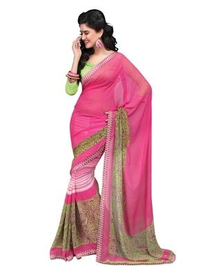 Triveni Stylish Pink Colored Faux Georgette Indian Designer Saree TSVF9836