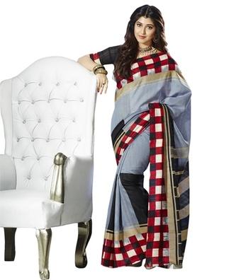Triveni Checkered Printed Bordered Bhagalpuri Indian Traditional Saree TSVF10008