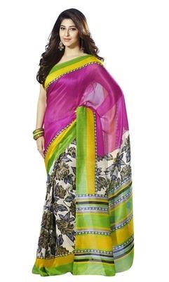 Triveni Sophisticated Floral Printed Bhagalpuri Traditional Saree TSVF10018