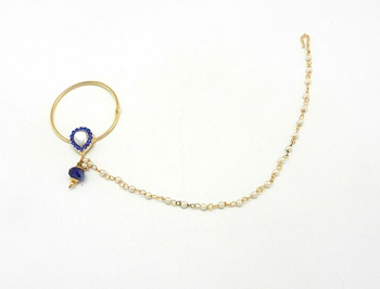 Blue Color Rajasthani Nath Made With Brass & Decorated With Kundan And Pearl Chain