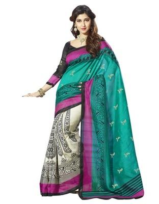 Triveni Majestic Floral Printed Bhagalpuri Silk Traditional Saree TSVF10024