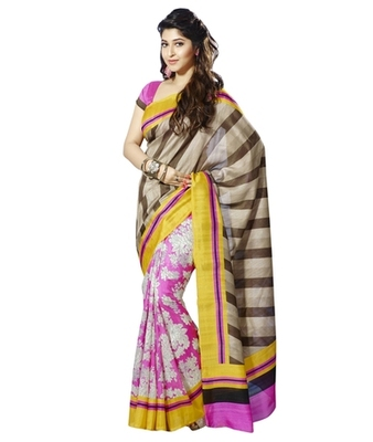 Triveni Chic Contrast Bordered Bhagalpuri Silk Traditional Saree TSVF10025