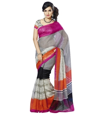 Triveni Entrancing Lining Patterned Bhagalpuri Traditional Saree TSVF10027