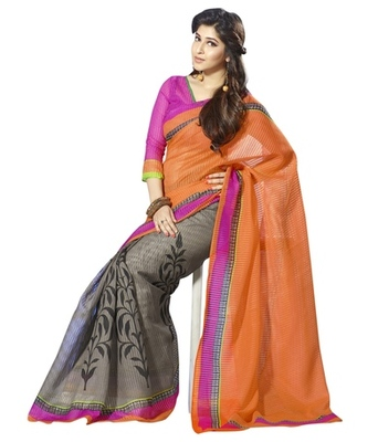 Triveni Evoking Floral Printed Bhagalpuri Silk Traditional Saree TSVF10029