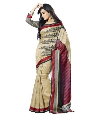 Triveni Staggering Contrast Bordered Bhagalpuri Traditional Saree TSVF10031
