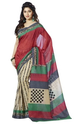 Triveni Finelooking Abstract Pattern Bhagalpuri Traditional Saree TSVF10032