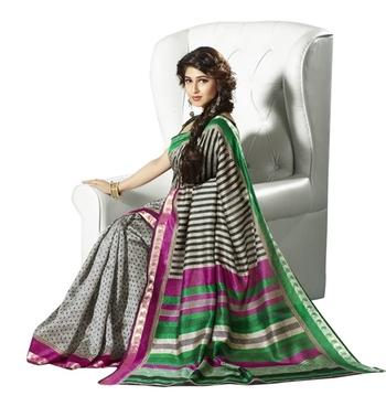 Triveni Pleasing Dots Printed Bhagalpuri Silk Indian Traditional Saree TSVF10038