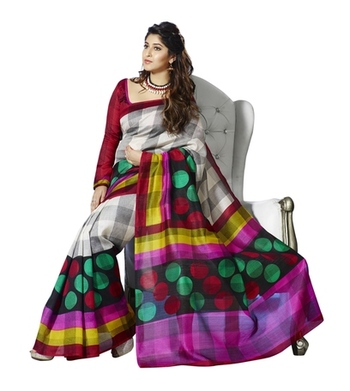Triveni Checkered & Polka Dots Motif Bhagalpuri Traditional Saree TSVF10040