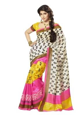 Triveni Striking Floral Printed Bhagalpuri Silk Traditional Saree TSVF10044