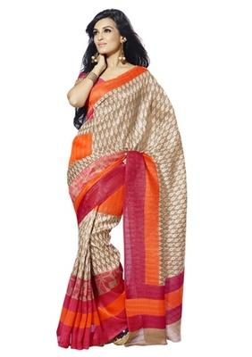Triveni Elegant Contrast Border Bhagalpuri Silk Traditional Saree TSVF10046