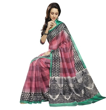 Triveni Fanciful Checkered Patterned Bhagalpuri Traditional Saree TSVF10052