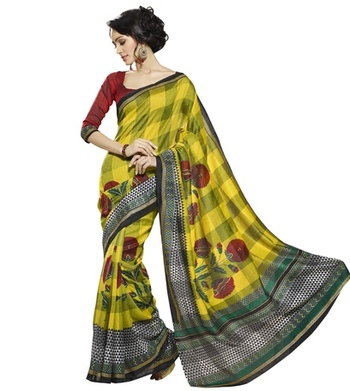 Triveni Attractive Checkered Pattern Bhagalpuri Traditional Saree TSVF10054