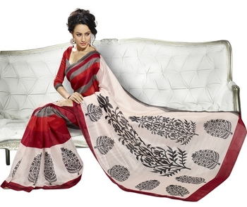 Triveni Striking Floral Printed Bhagalpuri Silk Traditional Saree TSVF10055