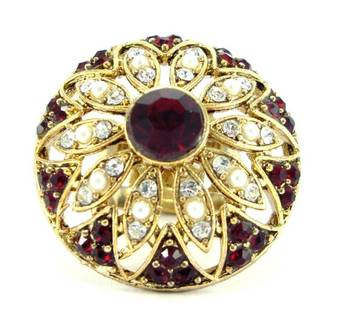 bridal maroon kundan pearl cz gold tone adjustable finger ring fr09