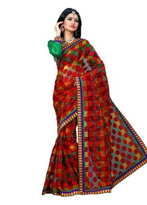 Triveni Sophisticated Checkered Patterned Net Saree TSN6013