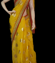 Buy Mango yellow foil print kota-silk-saree online