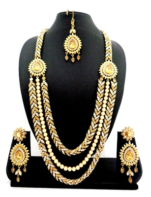 Three liner golden white stone long bridal necklace set with maang tikka