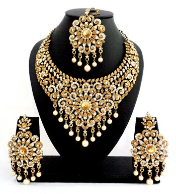 Buy Designer Golden White Stone Bridal Necklace Set With
