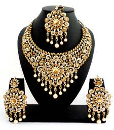 Buy Designer golden white stone bridal necklace set with maang tikka pakistani-jewellery online
