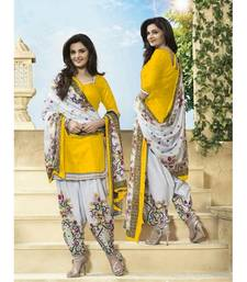 Buy Yellow poly cotton printed unstitched salwar with dupatta cotton-salwar-kameez online